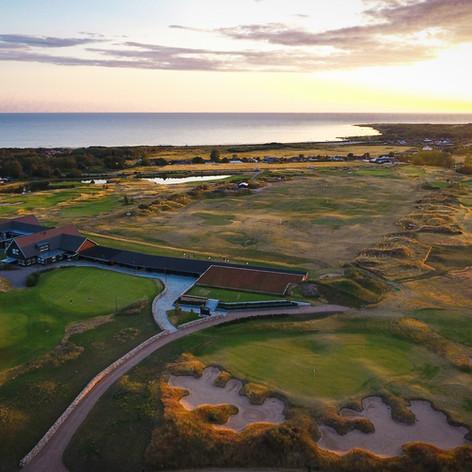 Solnedgång över Halmstad Golfarena