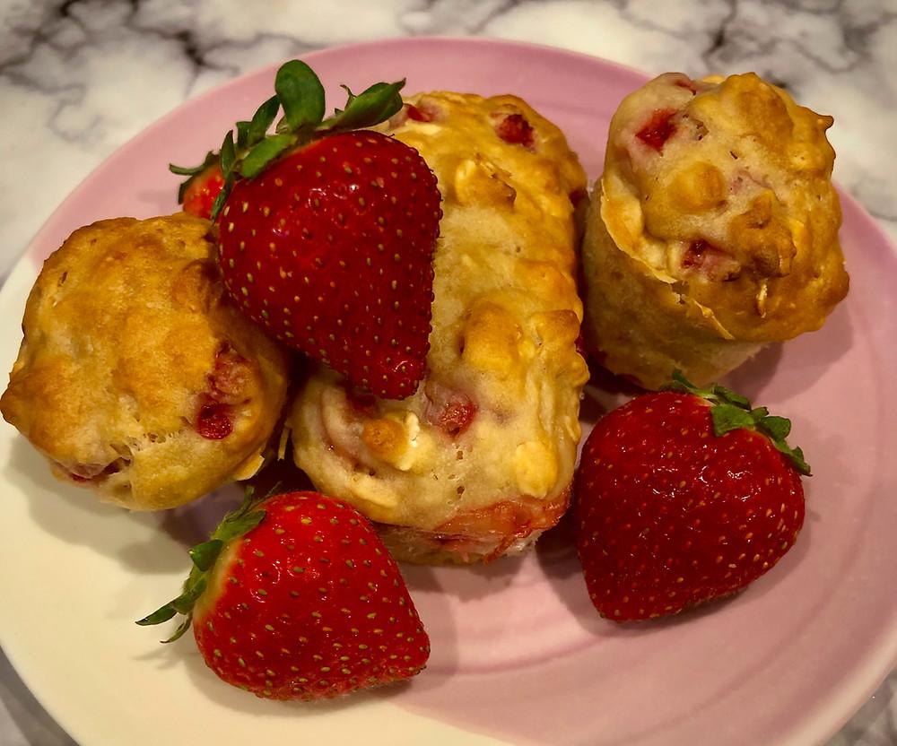 strawberry muffins and strawberries