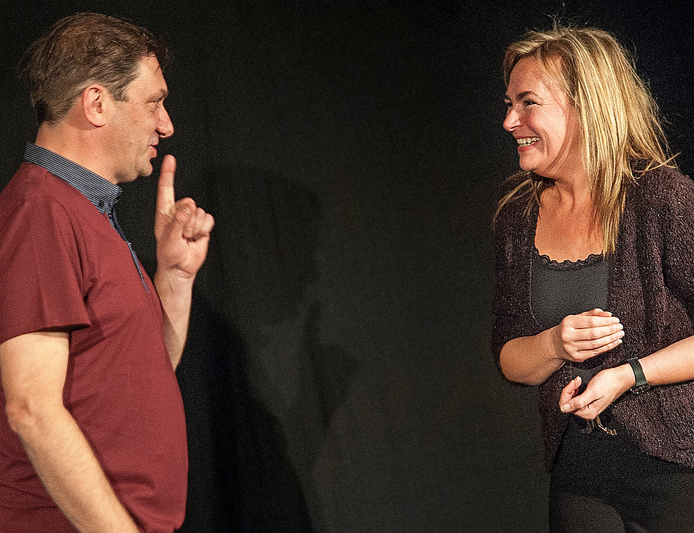 ian mclaughlin & bev fox, performing on stage