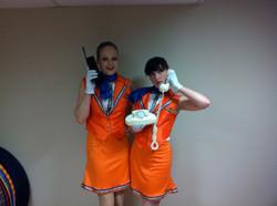 Orange air hostess costumes