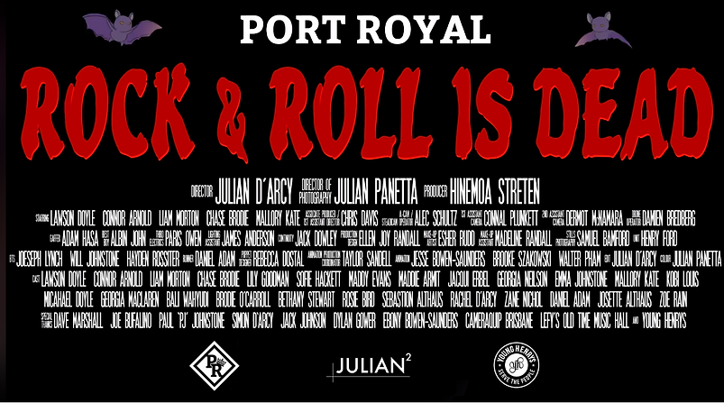 Credits of Rock n Roll is dead, featuring Motion Designer Taylor Sandell as the Animatin Production coordinator