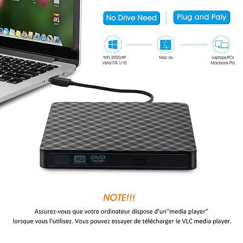 Graveur DVD Lecteur DVD Externe CD USB 3.0 Enregistreur ....