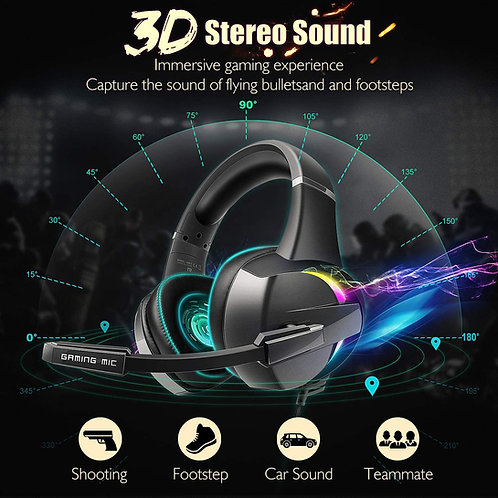 Casque GAMING Fusion 7 : Son 3D Surround | Led RGB 7 Couleurs | Micro 360°