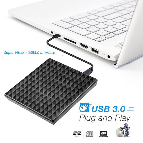 LECTEUR GRAVEUR Externe CD/DVD Enregistreur - USB 3.0 Ultra rapide Noir ...