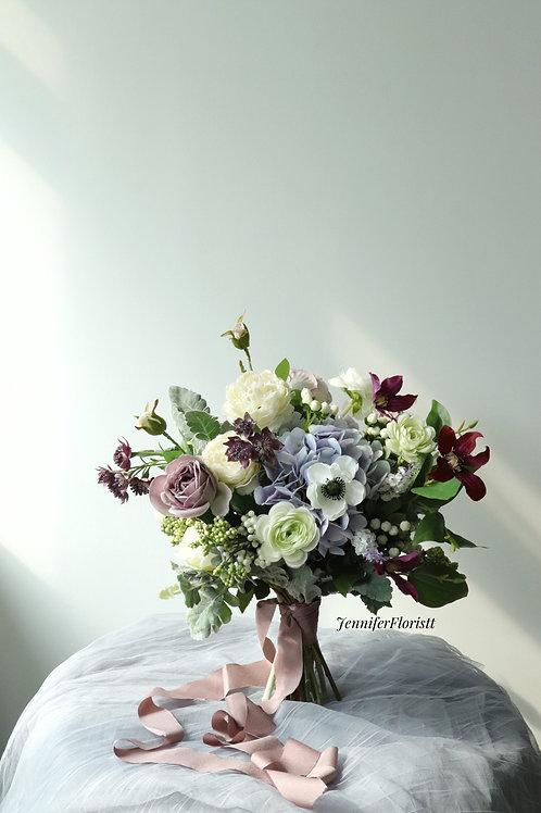 復古紫色絲花球