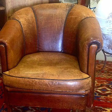 Art Deco Leather Club Chair