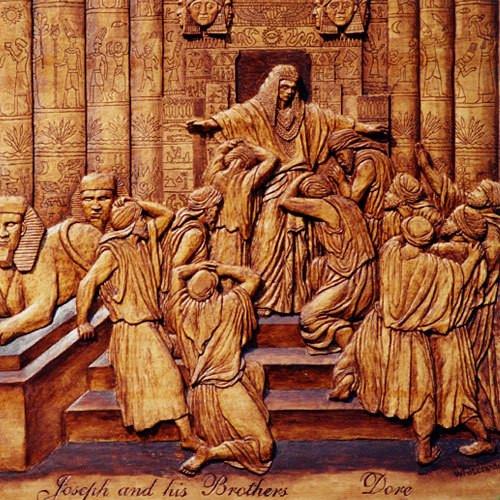 חיתוך עץ של האמן דורה: מפגש יוסף עם אחיו במצרים.