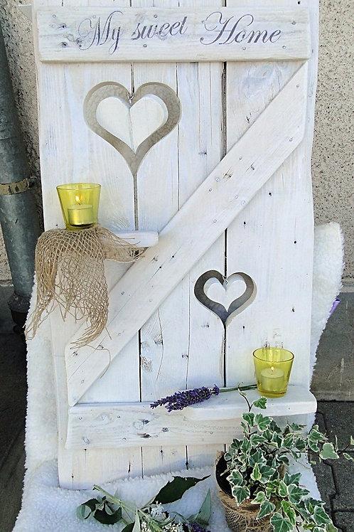 My sweet Home mit 2 hängenden Herzen