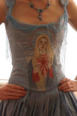 Machine embroidered corset