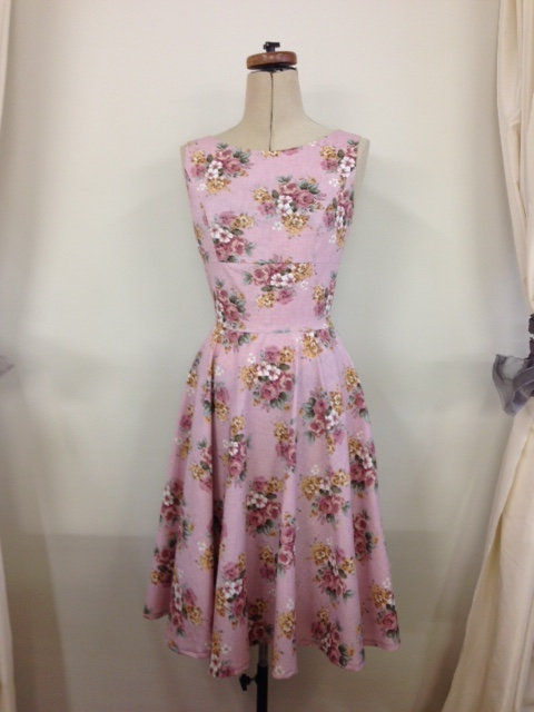 musk flowers dress with circle skirt
