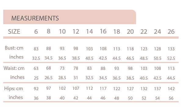 Size chart 6 - 26