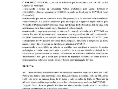 Covid-19: entenda o decreto de lockdown em Alegrete
