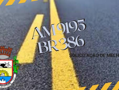 NOVA BOA VISTA - MUNICÍPIO SOLICITA REPAROS DA AM 9195 AO DAER