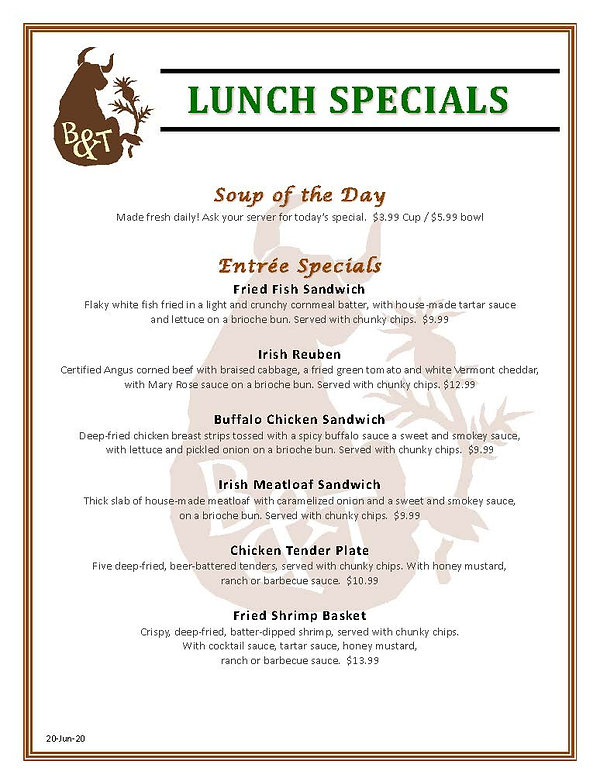 Bull and Thistle Lunch Specials (v3-dlm-