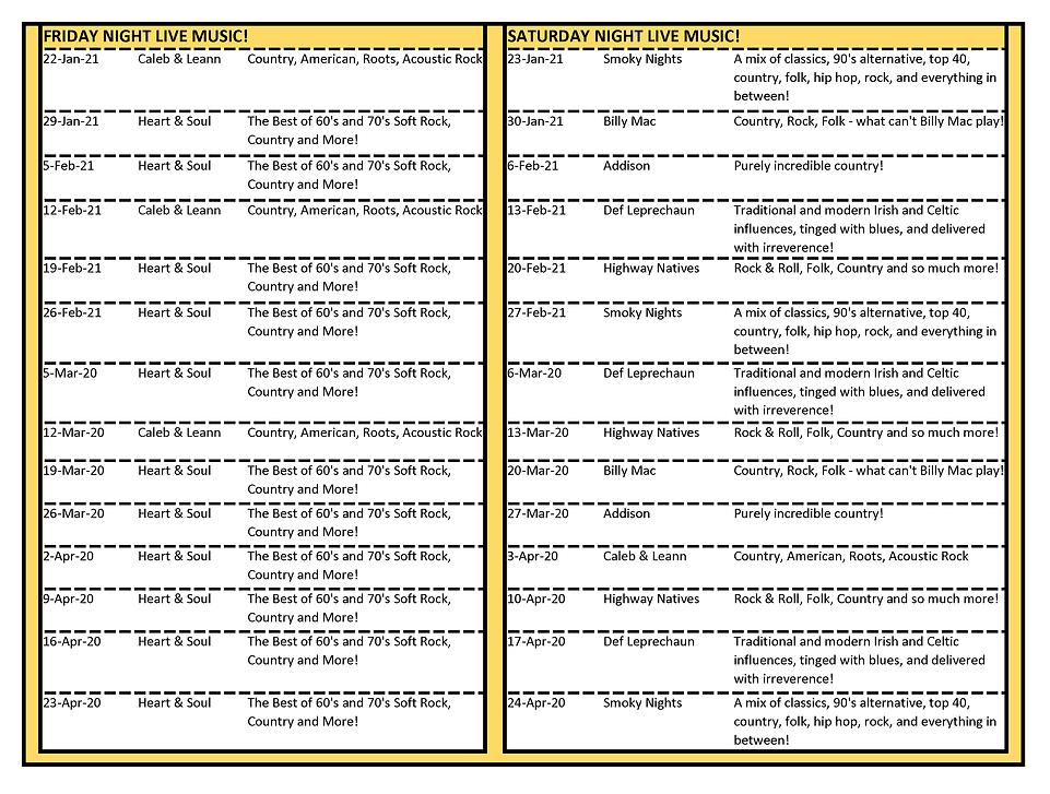 2021 Band Scheduling Web Schedule throug