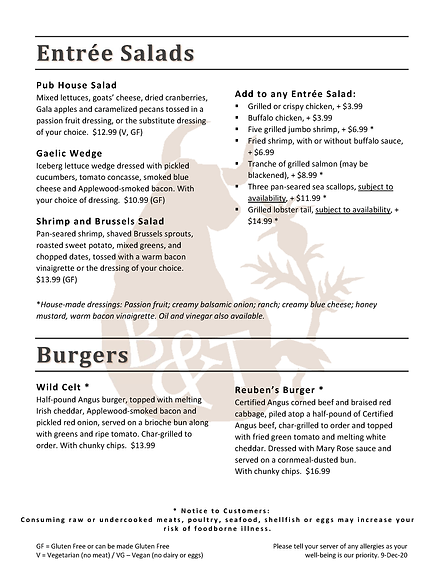 Bull & Thistle Pub Core Menu
