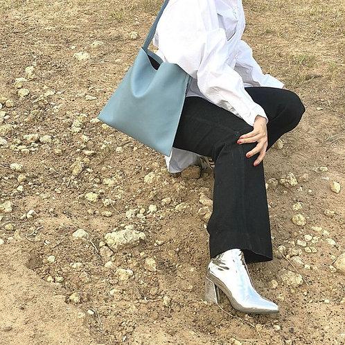 【洽圖洽】Rust Brand 泰國手工人工皮袋-Hobo包-天藍色-中