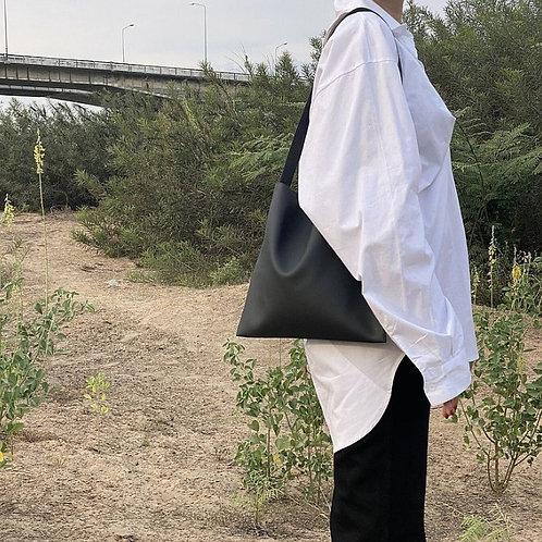 【洽圖洽】Rust Brand 泰國手工人工皮袋-Hobo包-黑色-中