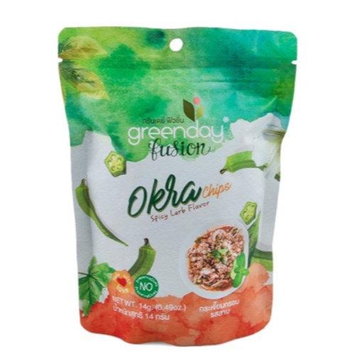 泰國必買 Greenday凍脆蔬果乾-拉姆豬秋葵 14g