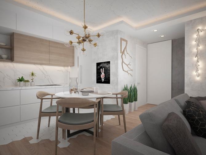 Дизайн интерьера квадрохауса 52 кв.м. для молодой семьи с двумя детьми