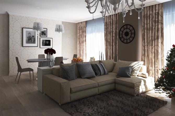 Современный интерьер с элементами классического стиля