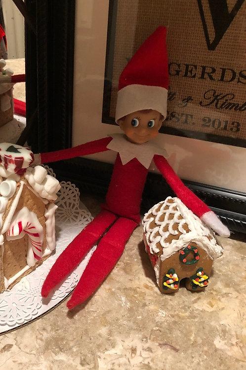 Mini gingerbread house fir elf