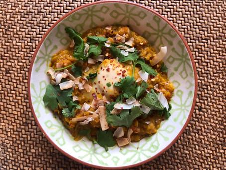 Red lentil dahl with egg