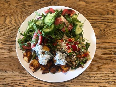 Tandoori tofu with tomato, cucumber and mint salad