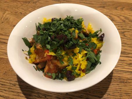 Shakshuka-style tempeh with ginger and turmeric sauerkraut