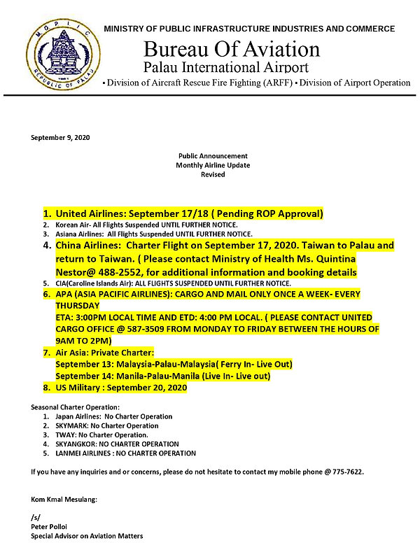 Monthly Airline Update September 9 2020.