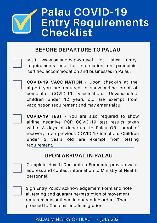 Palau COVID-19 Entry Requirements-July20