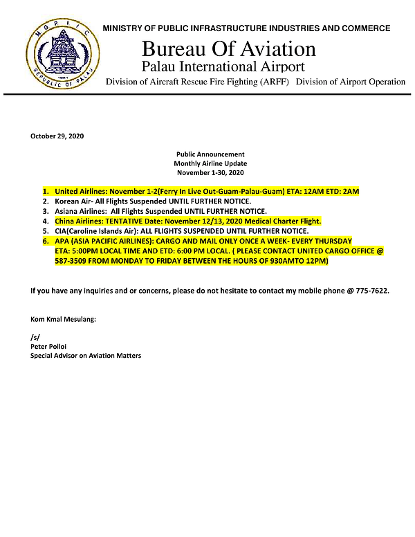 Monthly Airline Update October 29, 2020(