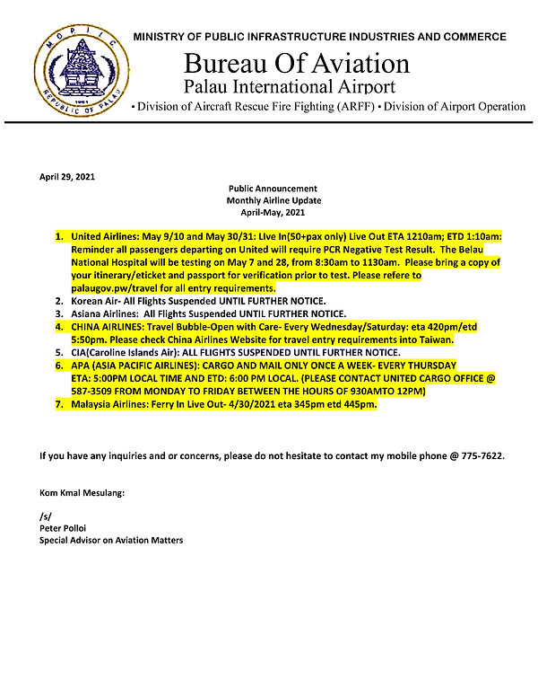 Monthly Airline Update as of April 29 fo
