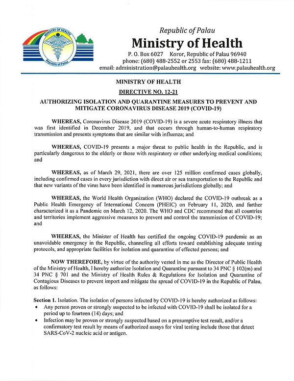 MOH Directive No.12-21-Reauthorizing Qua