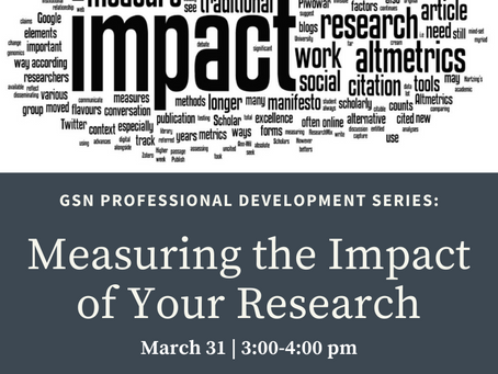 Workshop: Measuring the Impact of Your Research (3/31)