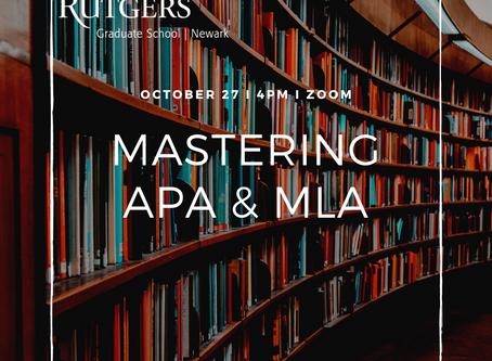 Upcoming Workshop: Mastering APA and MLA Citation (10/27)
