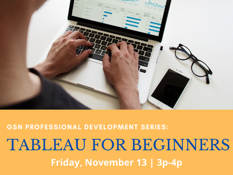 Upcoming Workshop: Introduction to Tableau (11/13)