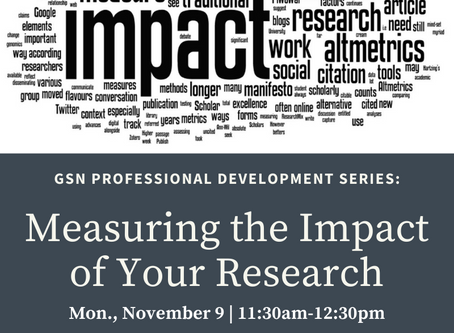 Upcoming Workshop: Measuring the Impact of Your Research (11/9)