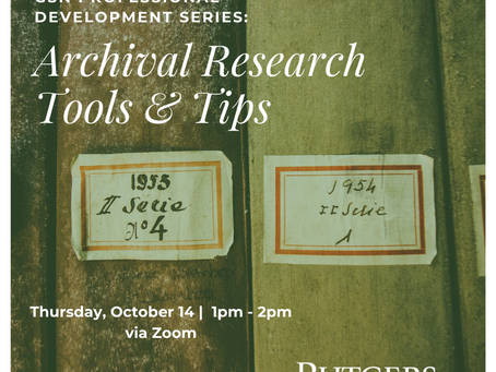 GSN Professional Development Series: Archival Research Tools & Tips (10/14)