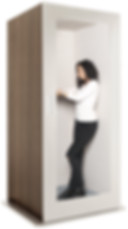 Soundproof acoustic office phone booth pod - white & wood grain finish