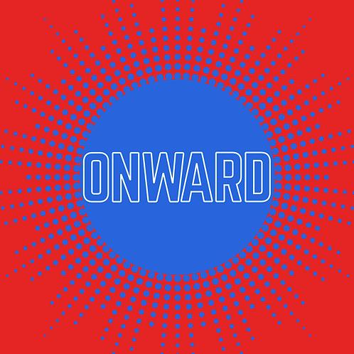 Bright Blue Dot ONWARD Bumper Stickers (2 Pack)