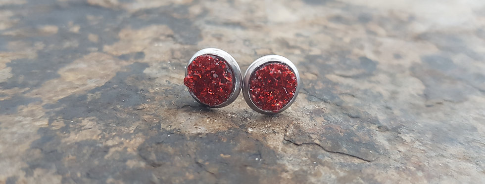 8mm red sparkle studs