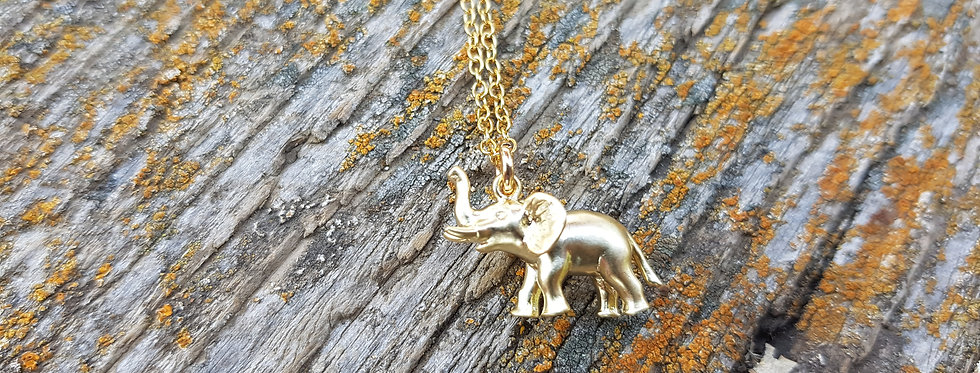 Gold dipped elephant necklace