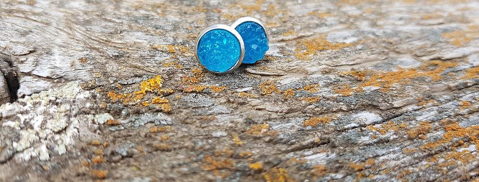 8mm bright blue druzy studs