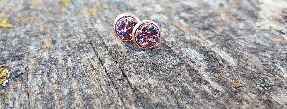 8mm multicolor sparkle druzy studs