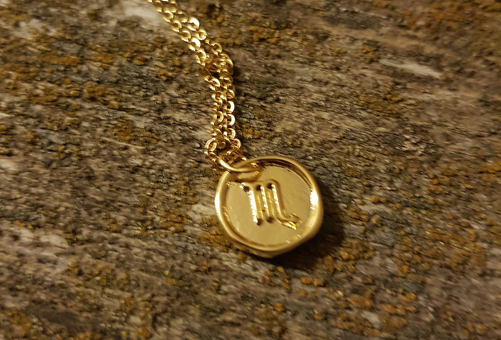 Scorpio wax seal necklace