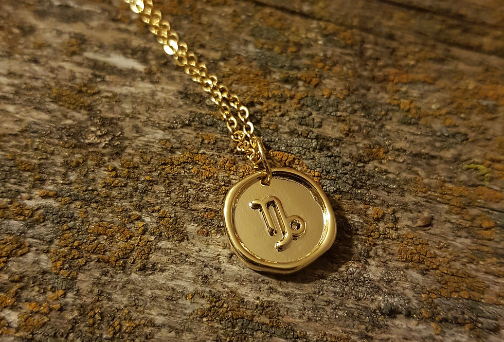 Capricorn wax seal necklace