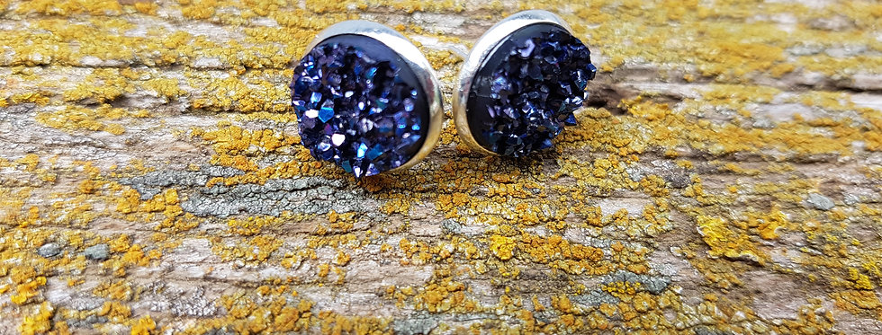 12mm berry blue druzy studs