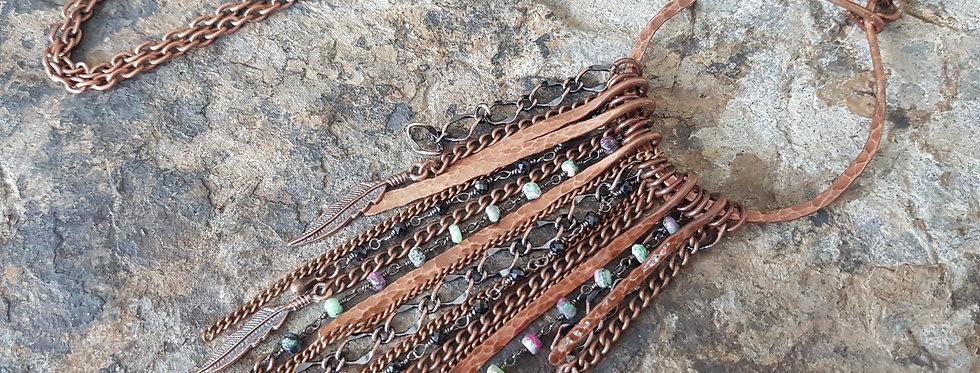 Hammered copper gemstone necklace
