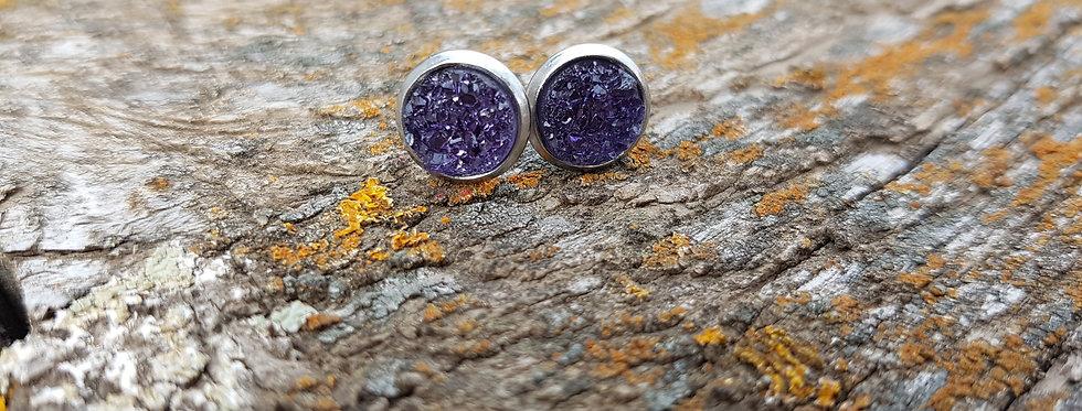 Concord purple druzy studs